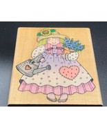 "Garden Gal Wood Mounted Rubber Stamp by Hero Arts Flower Girl  3.25"" x 3... - $7.95"