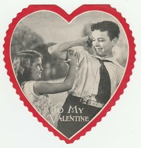 Vintage Valentine Card Boy Makes Muscle As Girl Admires 1920's Heart - $9.89