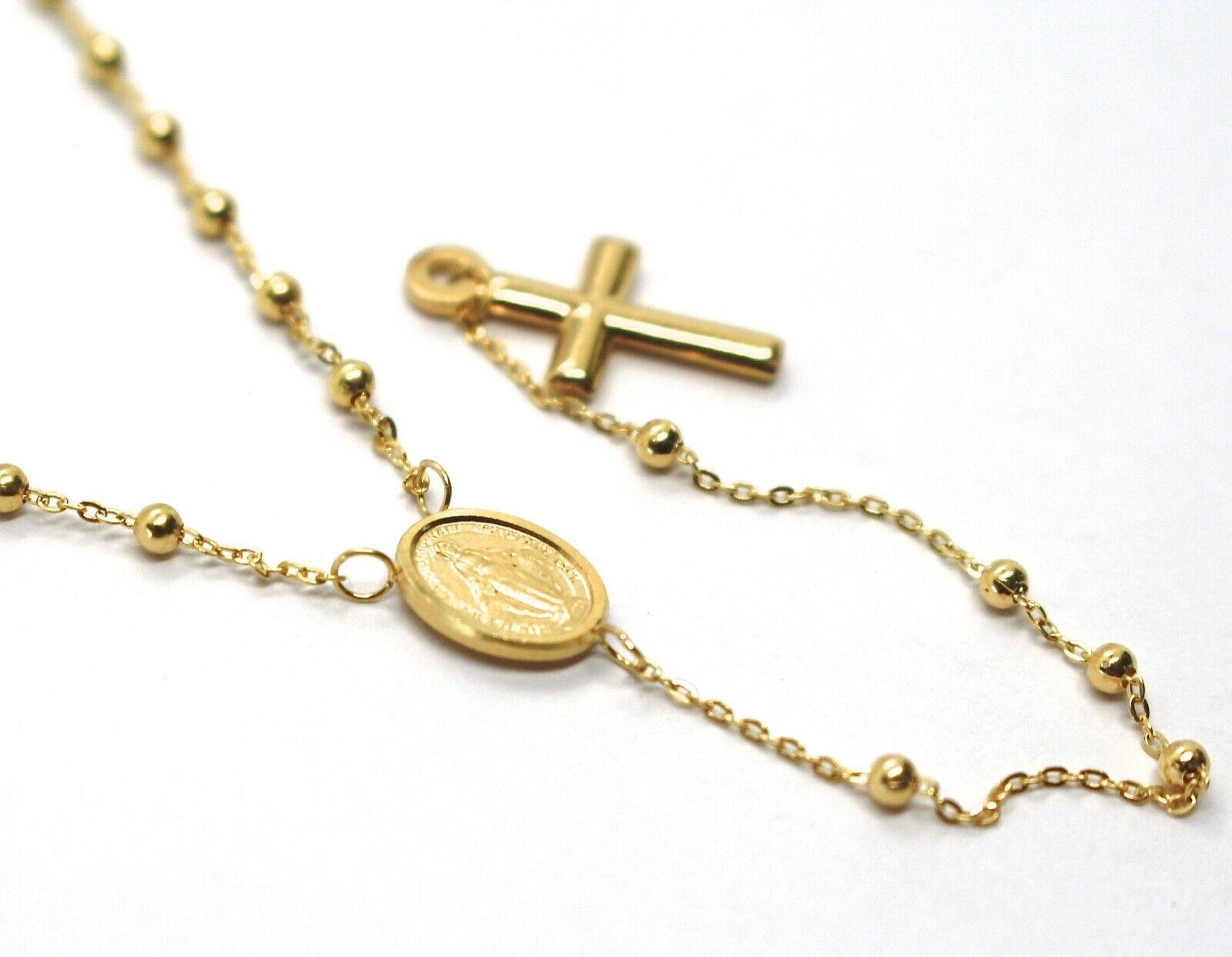Mini Collar Rosario Oro Amarillo 750 18K, Medalla Milagrosa, Cruz, 48 CM image 3