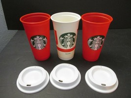 M Starbucks Reusable Retired Cups  Red, Christmas JOY with lids - $24.74