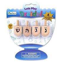 Let's Play Dreidel The Hanukkah Game 4 Natural Wooden Draydels With Instructions - $11.75