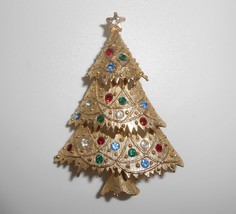 Eisenberg Ice Christmas Tree Brooch Pin Rhinestones - $28.50
