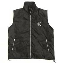 Vtg Calvin Klein CK Mens Black Puffer Vest Jacket Nylon Large Zip Up - $29.65