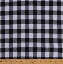 "Flannel Black & White Buffalo Plaid 1"" Checks Flannel Fabric by the Yard D276.12 - $8.99"