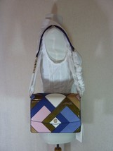 NWT Tory Burch Bright Navy/Multi Color Robinson Pieced Shoulder Bag - $423.71