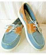 Clarks Cloud Stepper Boat Shoe Jocolin Vista Blue/Gray & Brown Women Siz... - $32.62