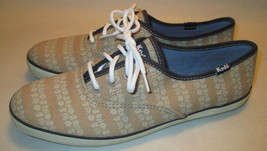 Keds Womens 6.5 Tan Sneakers w/ Rows of Flowers & Navy Trim,Arch Support... - $15.82