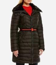 New Steve Madden Women's Belted Long Puffer Coat Black Varie... - $119.99