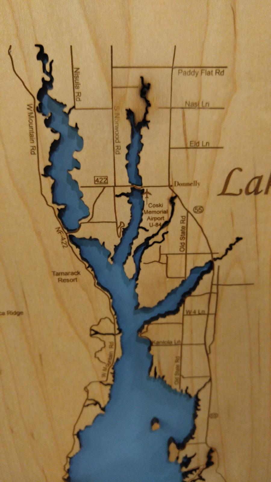 Wood Laser Cut Map of Lake Cascade, Idaho and 50 similar items on