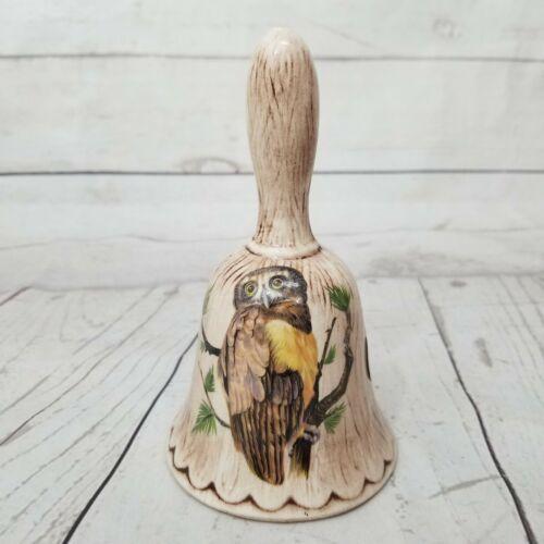 Vintage Owl in Tree Bell Treasure Craft USA Embossed Raised Wood Design