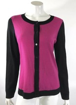 Talbots Cardigan Sweater Size Large Purple Black Italian Merino Wool Colorblock - $16.82