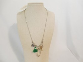 Department Store Silver Tone Green Tassel Charm Necklace C782 $36 - $14.39