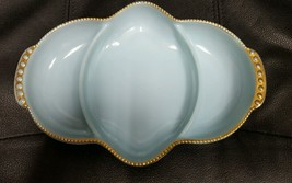 Fire King Oven Ware Turquoise Blue Divided Reli... - $17.82