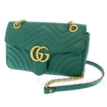 GUCCI Chain Shoulder Bag Small Leather Green 443497 Italy Authentic 5498772 - $1,396.73