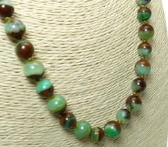 Australian Boulder Chrysoprase Round Gemstone Necklace 19 inch - $89.00