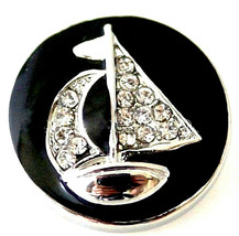 Black Silver Rhinestone Sail Boat Ship 20mm Snap Charm Button For Ginger... - $6.88