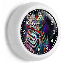 Color Splash Zebra Wall Clock Art Studio Bedroom Living Room Home Office Decor - $21.05