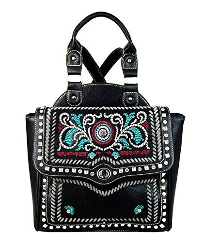 Western Embroidered Concho Backpack Purse (Black)