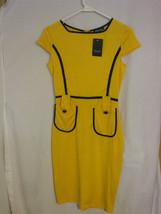 Fashion Mia Short Sleeve Yellow Dress Size Small 100% Polyester - $22.98