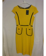 Fashion Mia Short Sleeve Yellow Dress Size Small 100% Polyester - $22.98