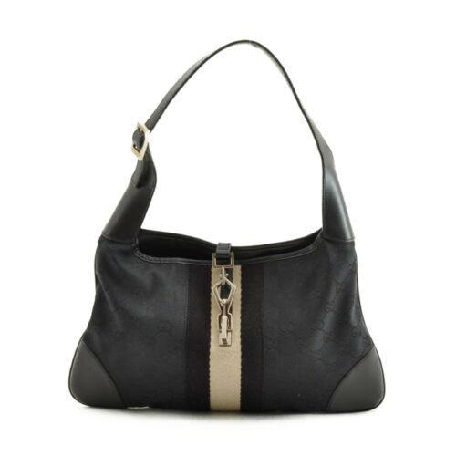 GUCCI GG Canvas Sherry Line Shoulder Bag Black White Auth kh037