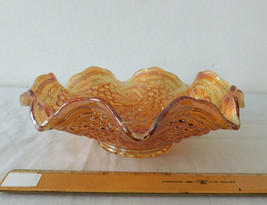 Vintage Imperial Glass Grape Pattern Iridescent Carnival Ruffled Bowl 8 ... - $19.99