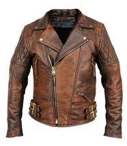 Men's Leather Jacket Motorcycle Bomber Biker Real Lambskin Leather Jacket - $159.99+