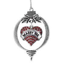 Inspired Silver Marry Me Red Candy Pave Heart Holiday Ornament - $14.69