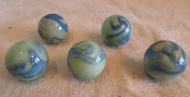 Vintage LOT OF 5  Akro Agate Blue  Swirl Shooter Marble   - $34.65