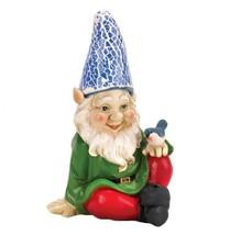 "Cheery Gnome with Blue Bird Solar Garden Statue Bluebird 7.25"" NIP 10016215 - $15.57"