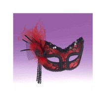 Forum Fancy Lace 1/2 Face Mask, Red/Black, One Size - $33.78