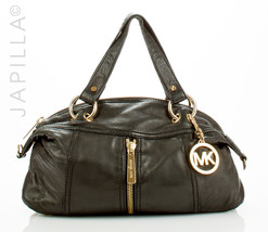 MICHAEL KORS SOFT BLACK LEATHER SATCHEL SHOULDER BAG HANDBAG PURSE - $98.01