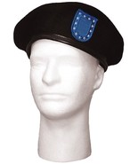Black Wool Military Beret with Blue Flash & Clutch - $16.99