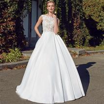 Bridal Fashion Scoop Neck Lace Top Wedding Dresses Sleeveless Pleated Satin Lace image 4