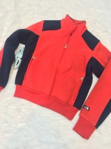North Face Vintage Fleece Jacket Size 8 made in USA RARE red navy 1/2 zi... - $19.55