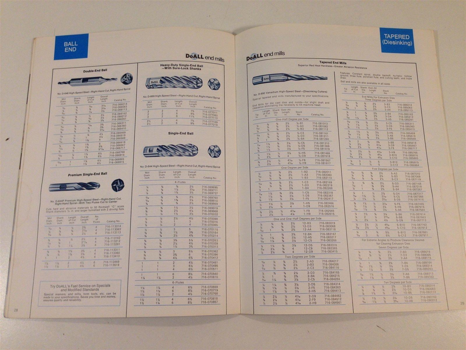 Vintage 1977 DoAll World's Finest End Mills Catalog