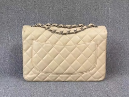 AUTHENTIC CHANEL BEIGE CAVIAR QUILTED JUMBO CLASSIC FLAP BAG SILVER HARDWARE image 4
