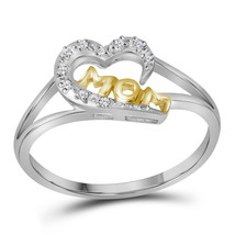 Two-tone Sterling Silver Womens Round Diamond Mom Heart Ring 1/20 Cttw - $98.64