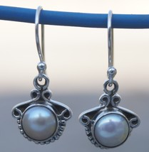 Earring Round Shell Pearl 925 Sterling Silver Handmade 998 - $10.39