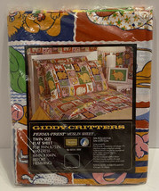 Sealed Vtg Giddy Critters Sears Perma Prest Twin Flat Sheet Bright Zoo A... - $56.09
