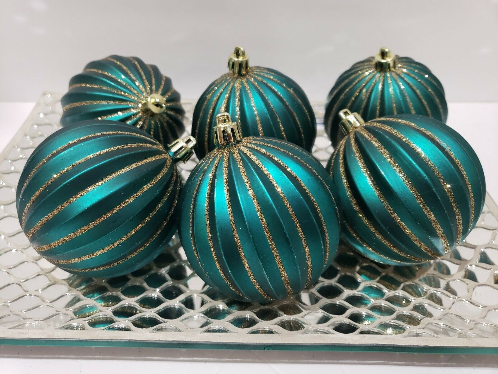 Primary image for Christmas Peacock Teal Green Gold Glitter Tree Ornaments Decor Set of 6