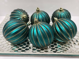 Christmas Peacock Teal Green Gold Glitter Tree Ornaments Decor Set of 6 - $26.99