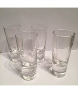 """Shot Glasses Lot Of 4 Etched Heavy Bottom Clear Glass 2-2.5"""" Tall Vodka ... - $14.32"""