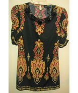 INC. Women's Tunic with Ruched Sleeves and Beaded Neckline Sz Small - $24.74