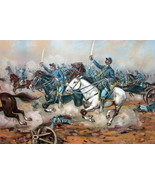 US ARMY in 1862 Cavalry of 5th Regulars Charge at Gains Mill - COLOR Lit... - $25.20