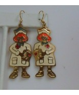 Vintage TWO HANDS Nurse Enamel Hook Earrings - $14.50