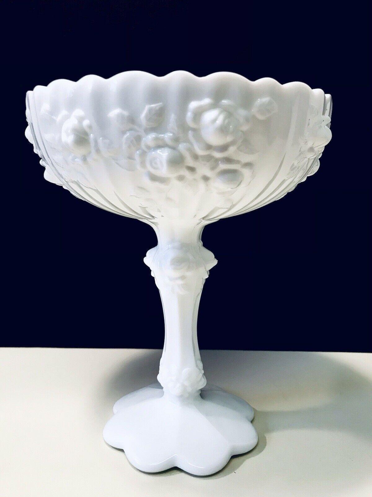 Fenton Vintage 1970's White Cabbage Rose Milk Glass Scalloped Rim Pedestal Bowl - $28.01
