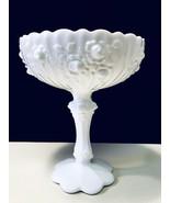 Fenton Vintage 1970's White Cabbage Rose Milk Glass Scalloped Rim Pedestal Bowl - $29.95