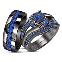 Sapphire Wedding Black Gold Over Trio His & Her Bridal Band Engagement R... - $146.19