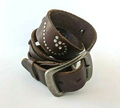 Brown Leather Belt Womens 33 34 35 36 37 Rhinestone Studded Bling Crystals  - $38.69